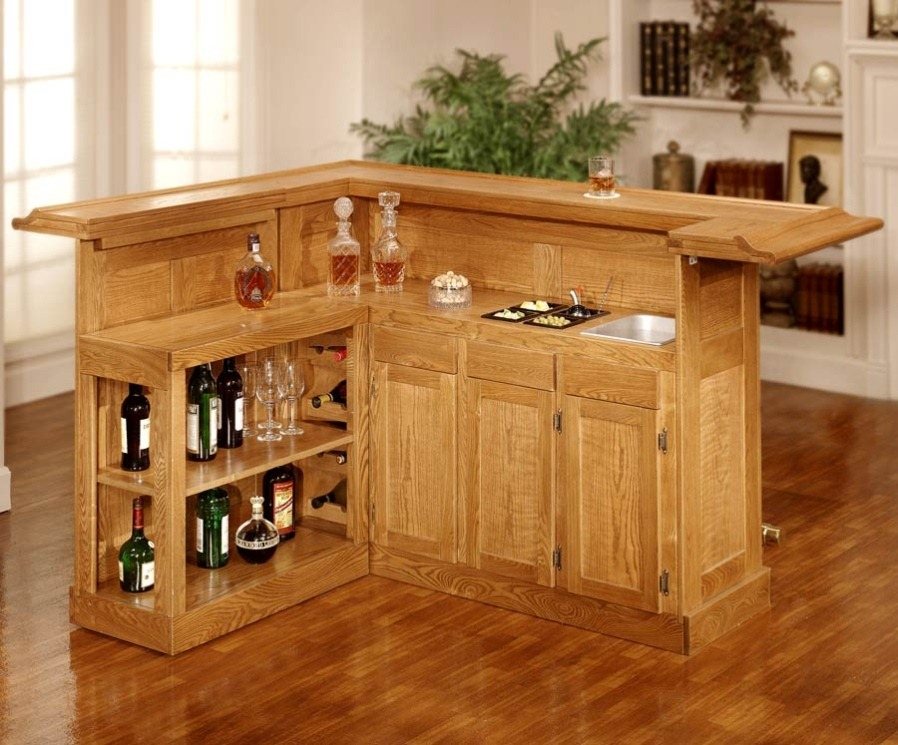 L Shape Wood Mini Bar Table With Storage And Open Shelves For Wine