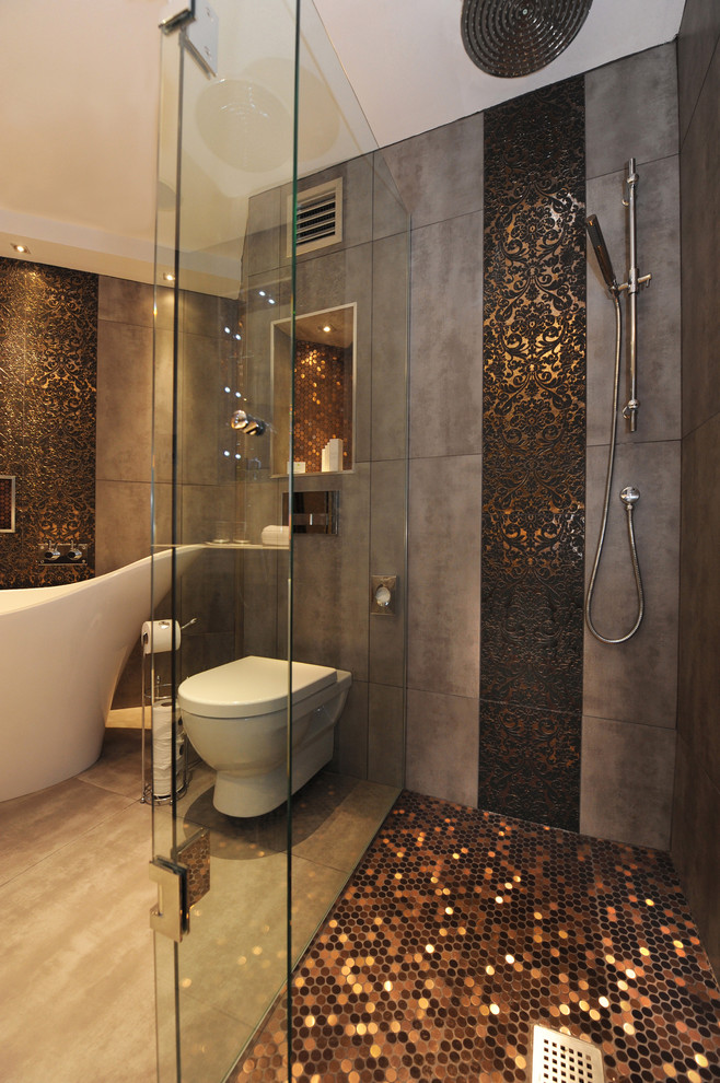 luxurious bathroom with mix black and gold tone color floors for shower space and light grey - Home Depot Bathroom Design