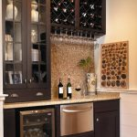Mini wine bar for home basement with simple and small wine storage