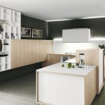 Minimalist kitchen idea with multi floating shelves and cabinets white preparing table and white countertop light grey stained wood floor