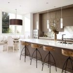 Modern kitchen design with kitchen bar and barstools created by Home Depot designers