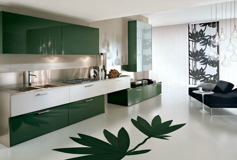Amazing Modern Minimalist Kitchen Design In Green Theme With Decorative  Green Leaves On Floor Green Kitchen Good Looking