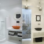 Natural color schemes for modern minimalist bathroom a unique bathroom vanity with  open shelves in bottom and beautiful decorative mirror a walk in shower stall with doorless heldhand showerhead fixture