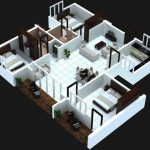 Simple and minimalist duplex house floor plan in 3D model for single family which has three bedrooms an open space for living room dining room and family room a large kitchen room and a bathroom