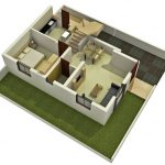 Simple and small duplex home plan in 3D for ground floor which consists of a bedroom a kitchen room a family room a bathroom and a dining room