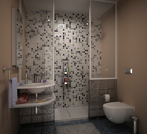 Simple but elegant shower space with black and white tone color mosaic tiles  for wall system