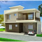 Simple modern minimalist exterior duplex home plan in 3D version complete with car park area