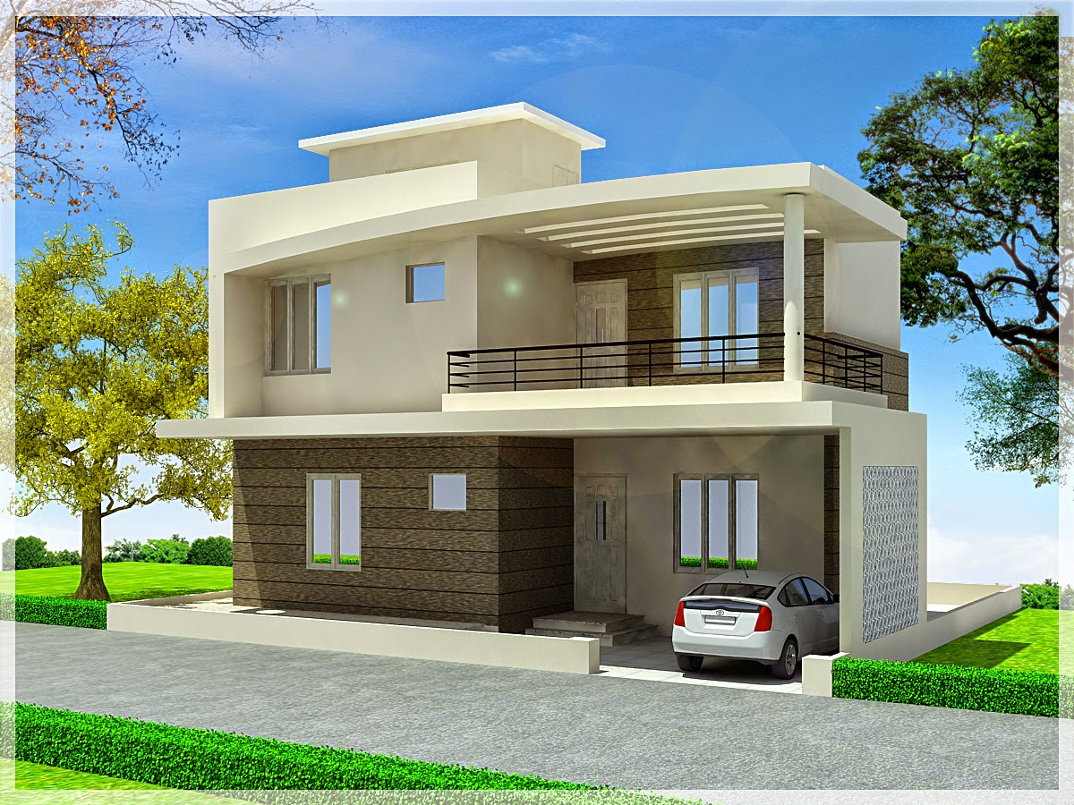Merveilleux Simple Modern Minimalist Exterior Duplex Home Plan In 3D Version Complete  With Car Park Area