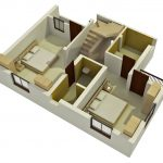 Small minimalist duplex floor plan for ground floor in 3D with two bedrooms a bathroom