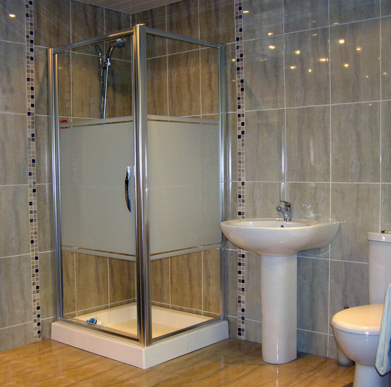 Small Shower Space In Modern Style With Glass Door And Panels A Single Free  Standing Sink Part 84