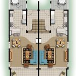 Twin home and floor plan in two dimension with patio