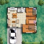 Two dimension small home plan with car port three bedrooms an open space for living room dining room and kitchen a bathroom