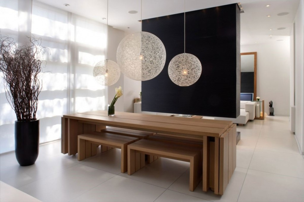 Exceptional White Ball Pendant Lamps In Different Size For A Group Of Wood Benches And  Wood Table