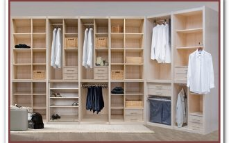 Wooden closet organizer with multiple racks for garments shoes and bag collections resulted by using online virtual closet designer