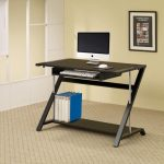 Z shaped slim computer desk design with rack and file organizer and photo on the cream wall with glass window
