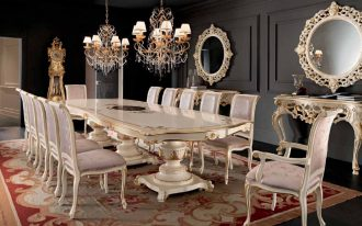 a set of dining furniture in classic style a pair of classic console table with classic round mirrors two units of classic pendant chandeliers a classic motif rug for black wood floors