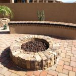 Accesories Decors Exterior Rounded Fire Pit With Concrete Seating Over Outdoor Patio Floor Tiles Pavers As Backyard Patio Decor Ideas Create An Amazing Relaxing Outdoor Spot With Bricks