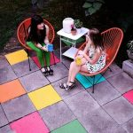 Adorable Classic Nice Dark Outdoor Flooring Over Concrete With Colorful Painting Concept With Nice Chairs Design