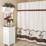 adorable combination of white and brown color bed bath and beyond shower curtain design aside white single vanity beneath wall greenery