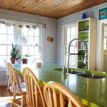 Adorable Cool Great Natural Kitchen Countertop Materials With Green Design And Has Wooden Chairs For Furniture Completeness