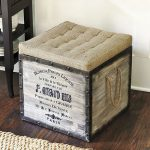 adorable vintage file storage ottoman design with classic rope and black letters upon wooden laminated floor aside black table