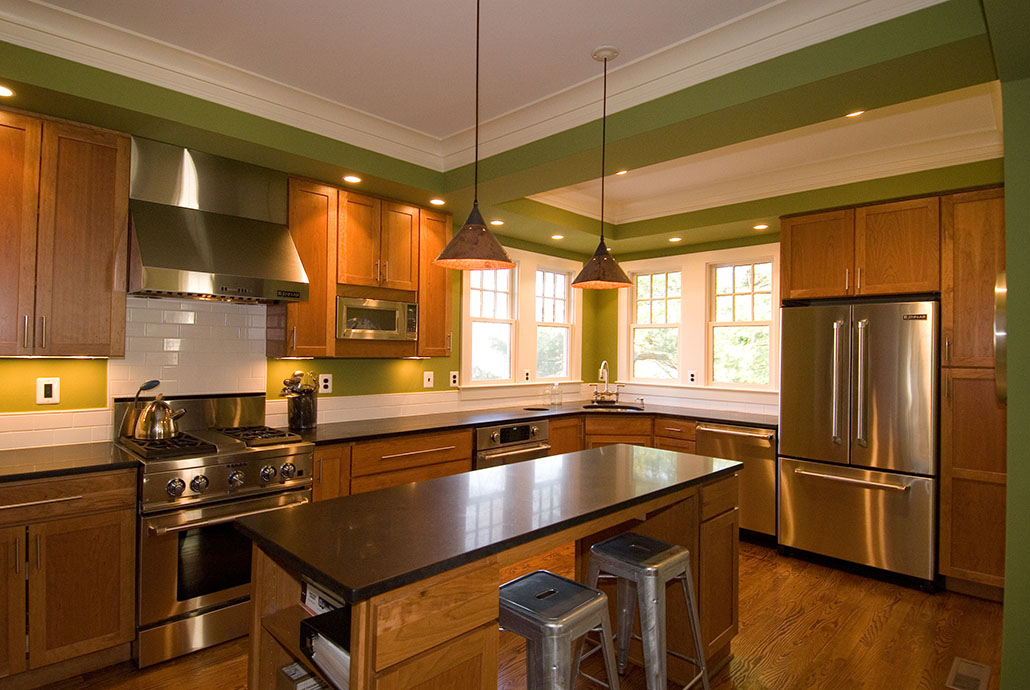 Charmant Affectionate Kitchen Remodeling Northern Va With Wooden Cabinets And Small  Kitchen Island With Stool And Pendant