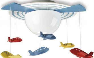 airplane light fixture for kids and toddlers bedroom with colorful airplanes as home accessories