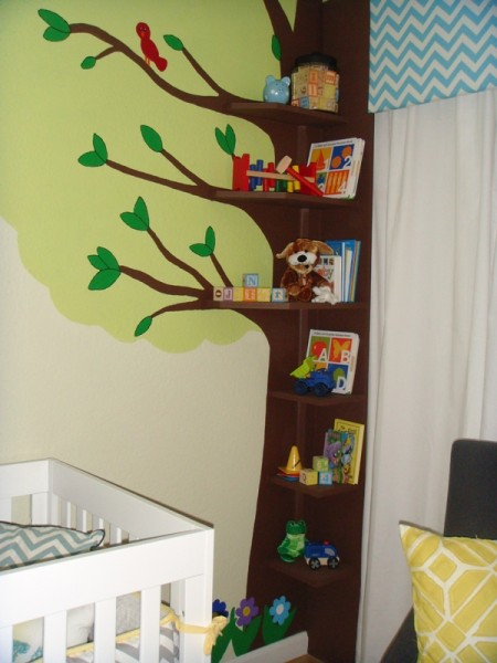 Amazing Baby Nursery Idea With Cute Brown Tree Shaped Bookshelves Aside Window Chevron Patterned White