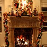 amazing christmas decorations for mantels fireplace with ribbon and garlands and string light together with wreath on wall and candle holders