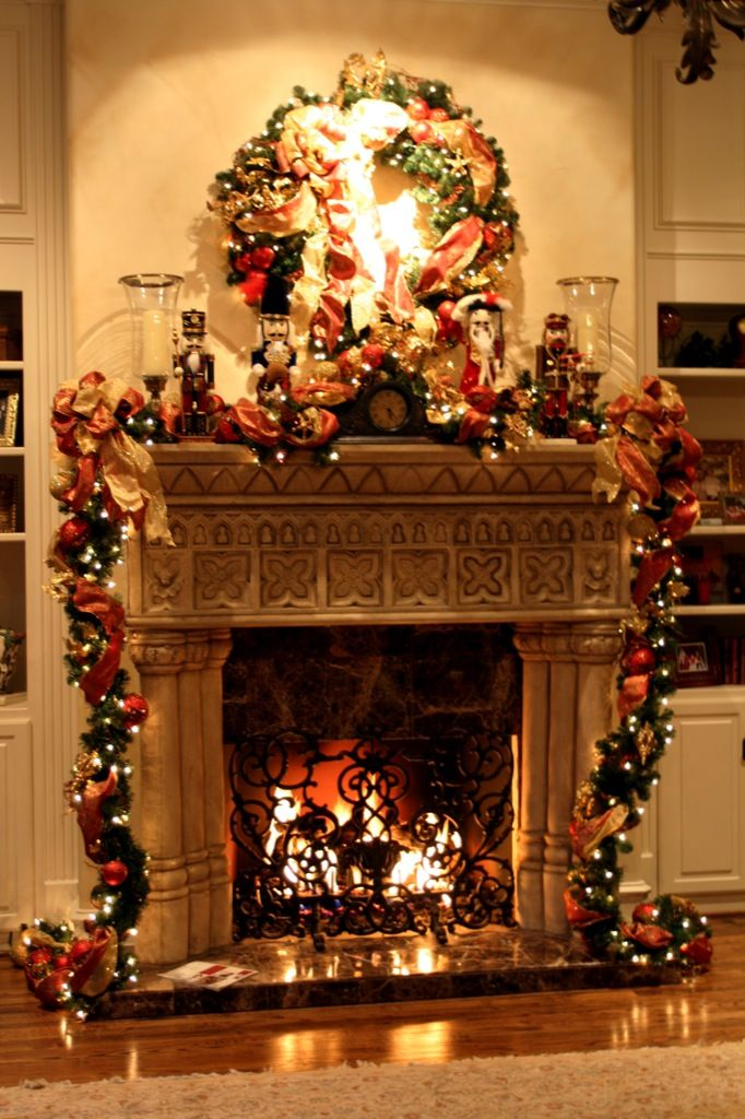 amazing christmas decorations for mantels fireplace with ribbon and garlands and string light together with wreath - Pictures Of Mantels Decorated For Christmas