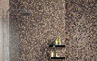 amazing luxurious bathroom design with mosaic ccasa antica tile design with black wall racks and cool head shower design