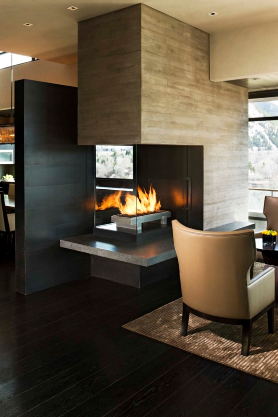 Living Room With Fireplace Design Ideas: Touch Your Interior With Different Style Of 3 Sided