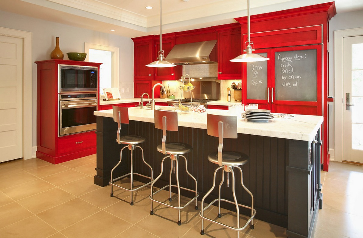 kitchen designs red kitchen furniture modern kitchen. Amazing Red And Spacious Kitchen Design With White Ceiling Modern Lighting Above Black Designs Furniture