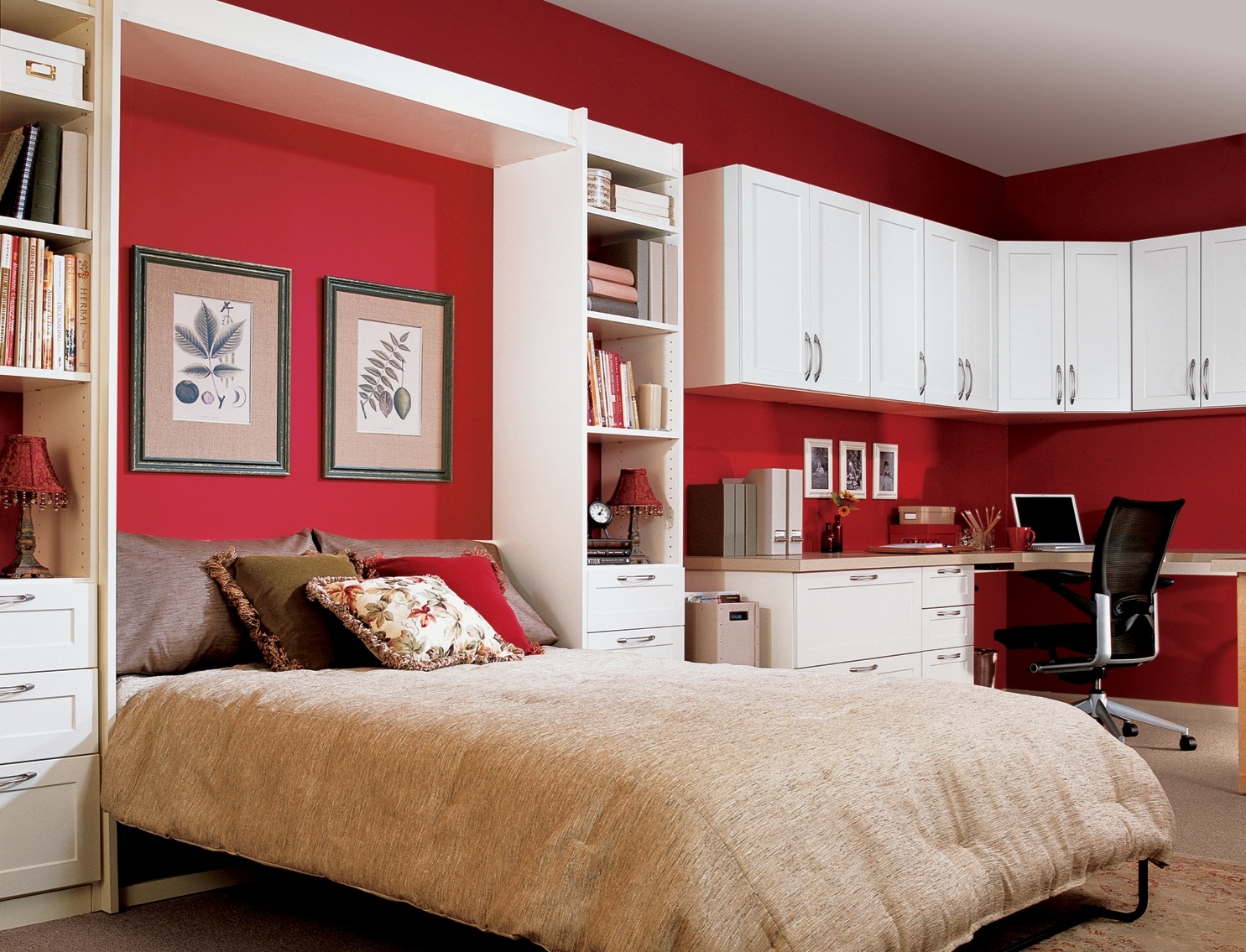 Fold up wall bed a brand new style to have comfortable bedroom amazing red fold up wall bed design with cream quilt and wall picture between standing wall amipublicfo Images