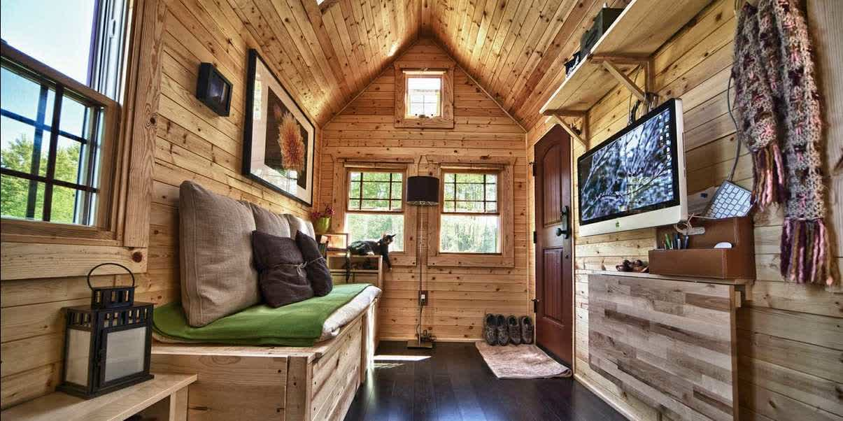 Delicieux Astonishing Sheds Turned Into Homes With Wooden Barn Wall Plus Wooden  Daybed With Cushion And Hardwood