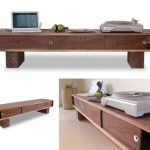 attractive-nice-cool-low-profile-media-console-idea-with-tough-wooden-concept-for-laptop-stand-suitable-for-room-decoration