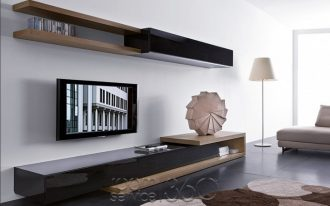 awesome-cool-nice-modern-low-profile-media-console-idea-with-black-wooden-concept-with-bookshelf-set-for-apartment-decoration-728x485