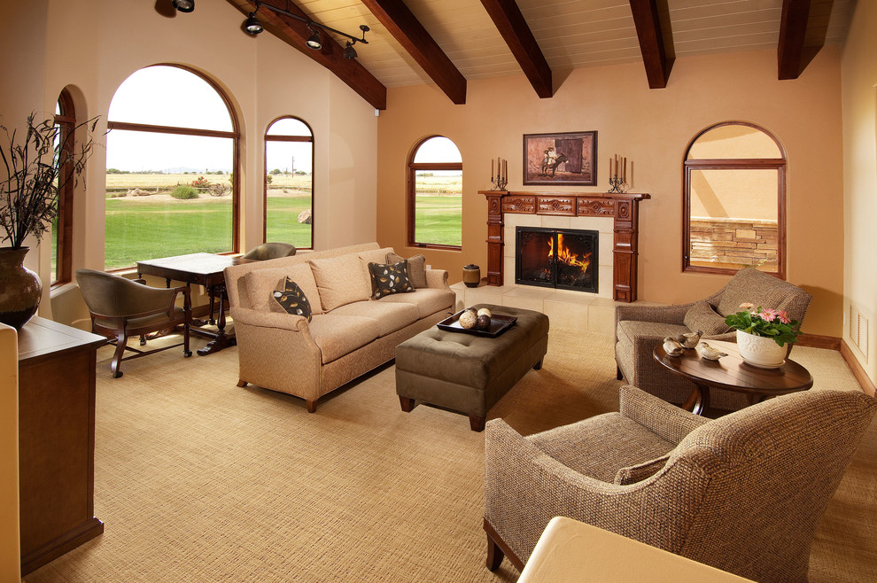 Awesome Living Room Ideas With Basket Weave Carpet And Comfy Sofa Cushions Fireplace