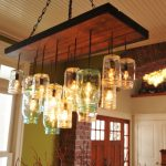 awesome mason jar lighting fixtures for home decoration ideas with wood and metal hanging on the ceiling