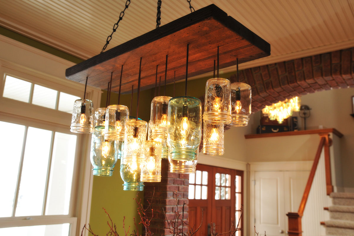 Find the uniqueness and breathtaking home lighting by installing awesome mason jar lighting fixtures for home decoration ideas with wood and metal hanging on the arubaitofo Gallery