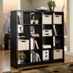 awesome office dividers ikea with black wooden shelves for books and plant pot and boxes plus rug on wooden laminate floor