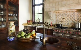awesome spanish tile backsplash design upon modern kitchen set with wooden kitchen island with rustic curved faucet idea aside storage