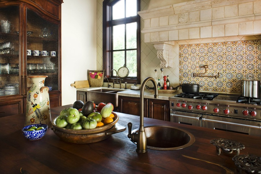 Awesome Spanish Tile Backsplash Design Upon Modern Kitchen Set With Wooden Island Rustic Curved