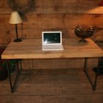 awesome wooden table with wood desk tops for living room or home office with laptop and table lamp plus standing lamps and wooden floor and wall