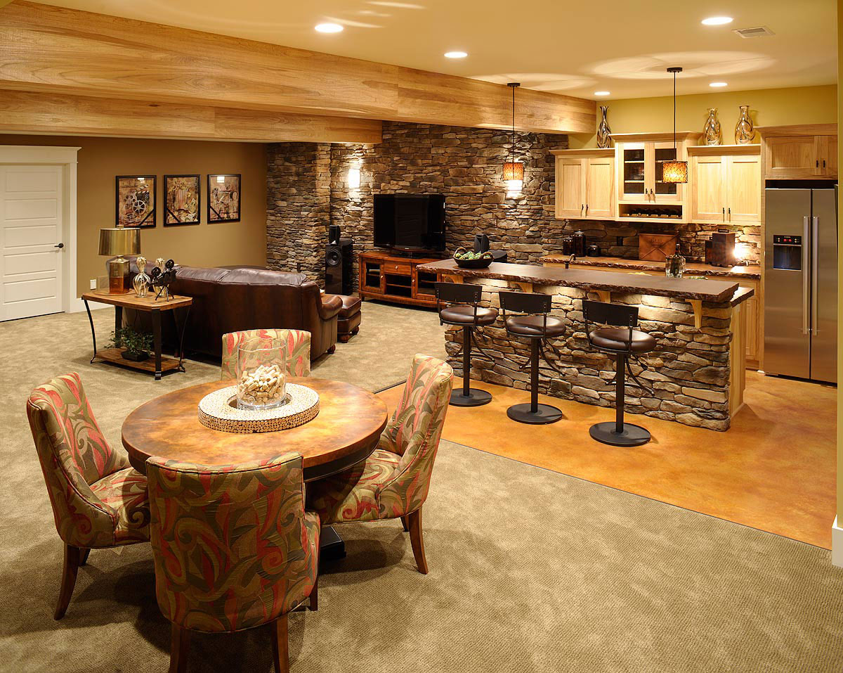 Basement Bar In Rustic Style Small Bar Table With Natural Stone Base  Construction Three Barstools In