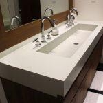 bathroom ideas with modern vanity units plus trough sink and bathroom mirror