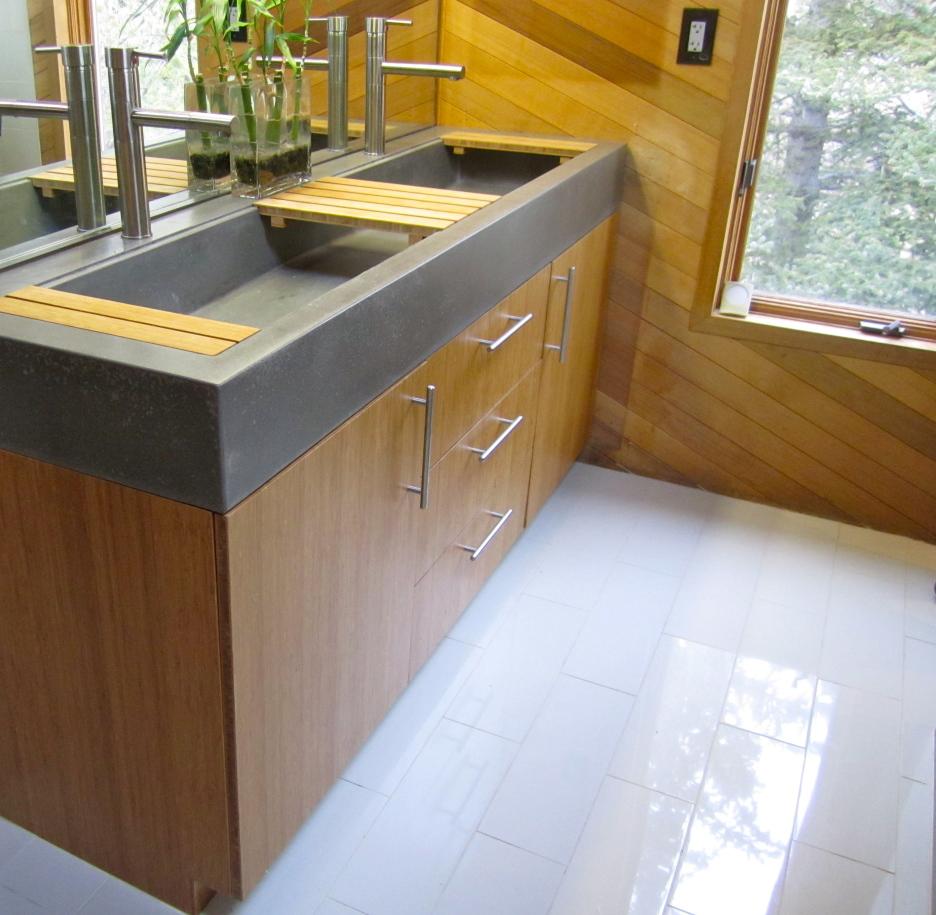 Efficient Master Bathroom And Walk In Closet: Trough Sinks For Efficient Bathroom And Kitchen Ideas