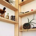 beautiful corner bookshelf design in tree shape with decorative plants from wooden material