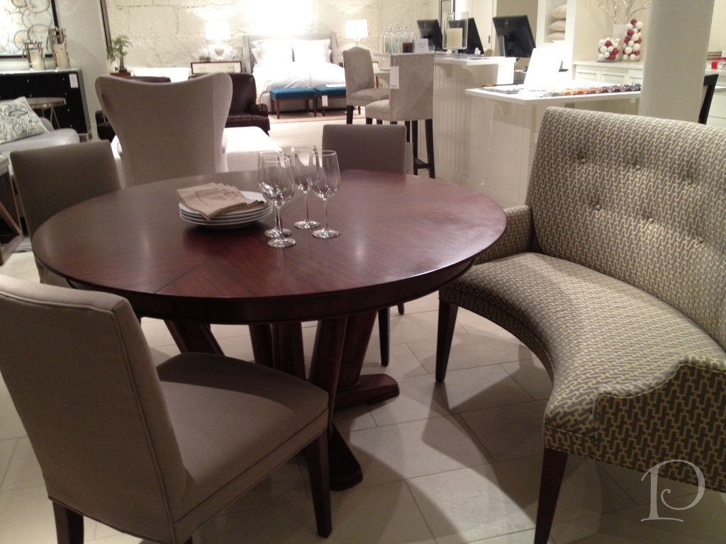 Intimate and affectionate dining atmospheres with curved for Dining room sofa seating