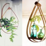 beautiful indoor hanging plant design with bottles pot and wooden hanging frame idea in the shape of water drop